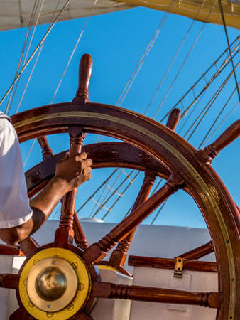 steering a ship Stock Photo