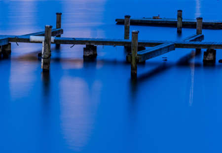austria, upper austria, gmunden, traunsee. dock for boats in a lake