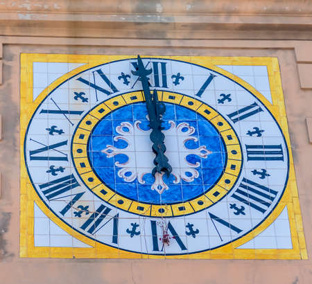 lull: the island of capri in italy. clock tower with clock