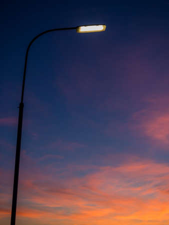 street lights in the evening after sunset