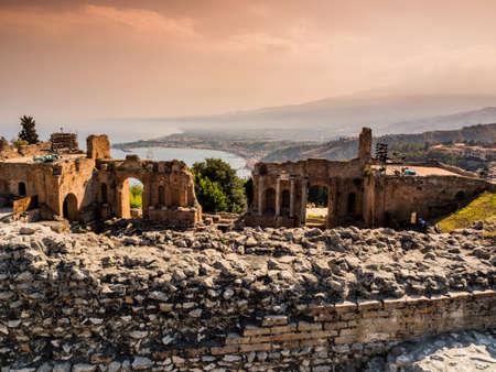 italian architecture: italy, sicily, taormina Stock Photo