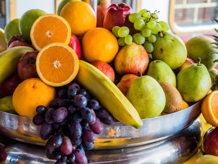 basket of fresh fruit and vegetables Stock Photo