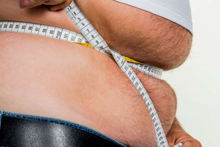 constrict: man with overweight Stock Photo