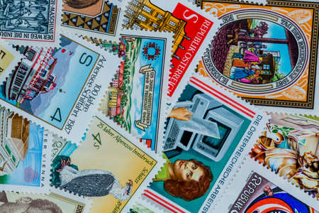 adjacent: many different stamps are adjacent. collecting as a hobby. Stock Photo
