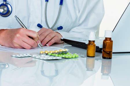 doctor prescribes a drug Stock Photo