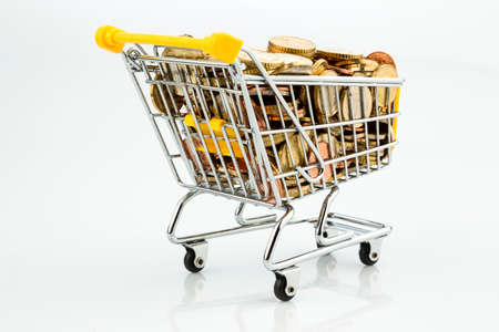Shopping carts and euro coins Stock Photo