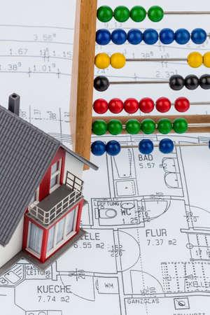 single familiy: house, abacus, plan Stock Photo