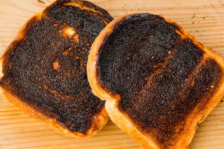 scorch: burned toast bread slices Stock Photo