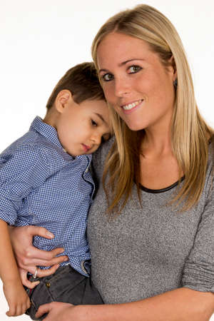 solicitous: mother and son Stock Photo