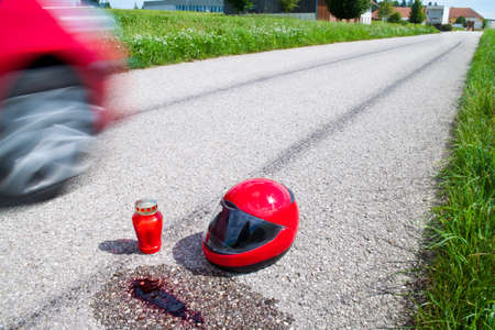 accident with motorcycle. traffic accident with skid marks Stock Photo