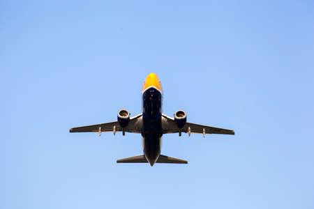 airplane on blue sky Stock Photo