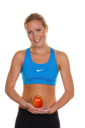 thinness: woman with apple leotard