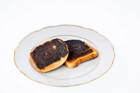 burned toast bread slices Stock Photo
