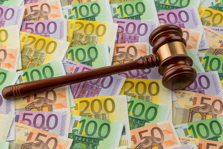 bidding: gavel and euro notes