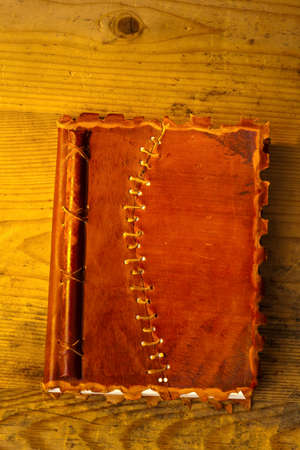 old diary with leather binding