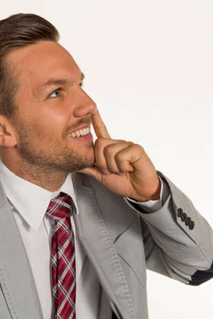 unsuspecting: pensive manager Stock Photo