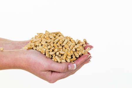 Hand met pellets als een oude natie energie