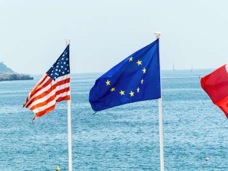 the eu, france and the usa flag