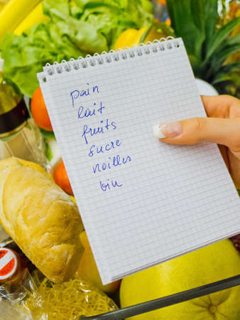 shopping list in the supermarket (french)