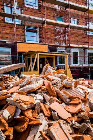puin op de bouwplaats Stockfoto