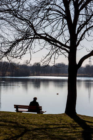 lone man at a lake Stock Photo