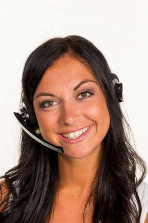 vrouw met hoofdtelefoon Stockfoto