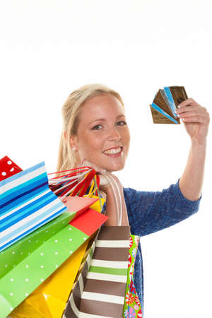 unbar: woman with shopping bags while shopping Stock Photo