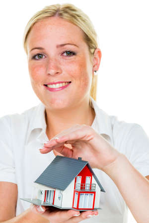 single familiy: real estate agent with house and schlü�el Stock Photo