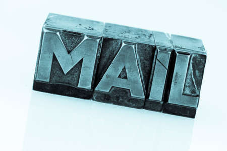 inform information: e-mail written in lead characters Stock Photo