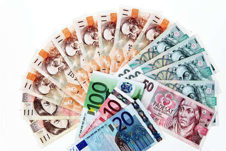 dinero euros: euro banknotes and czech crowns