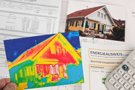 thermal imaging: save energy. house with thermal imaging camera