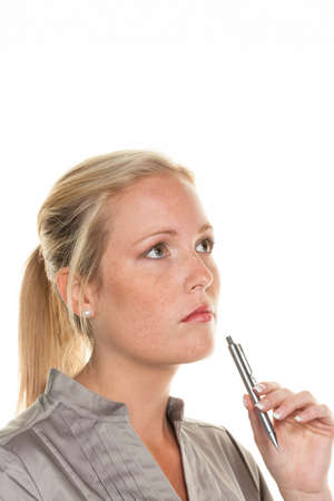 thoughtful woman with pen Stock Photo