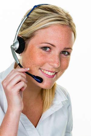 Vrouw met hoofdtelefoon in klantenservice