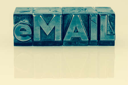 e-mail written in lead characters Stock Photo