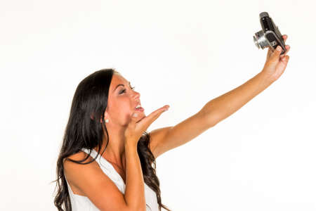 woman making selfi photo