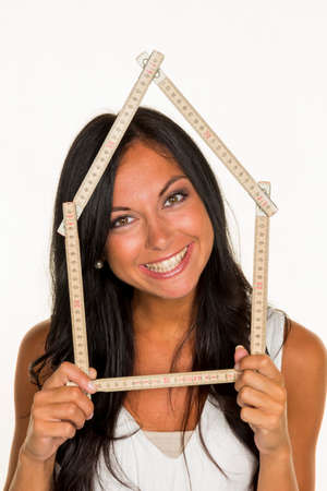 young woman wants to build a house photo