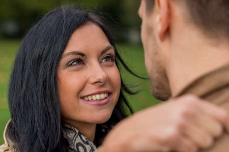 loving couple in a park Stock Photo