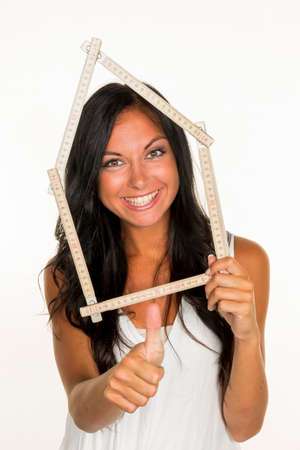 young woman wants to build a house Stock Photo