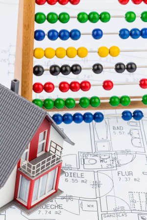 woonhuis, telraam, blauwdruk Stockfoto