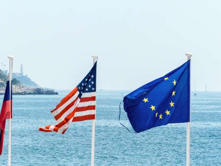 flags of the eu, usa, france