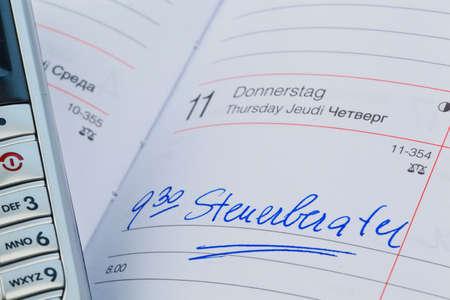 entry in the calendar: accountants