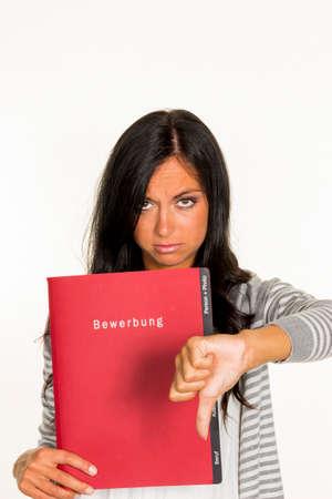 woman with application folder Stockfoto