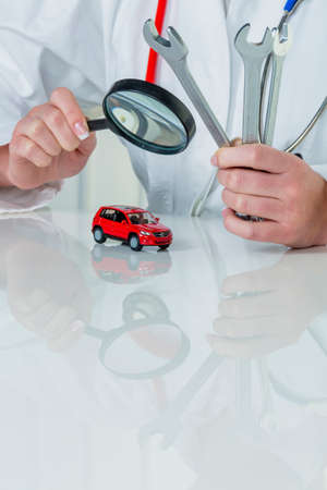 car is being examined by doctor