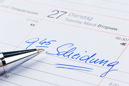 an appointment is entered in a calendar: divorce Stock Photo