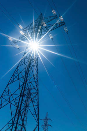 high voltage mast, symbol photo for electricity production, supply and power grid