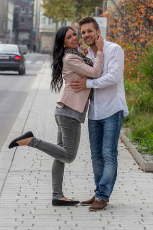 loving couple in urban environment Stock Photo