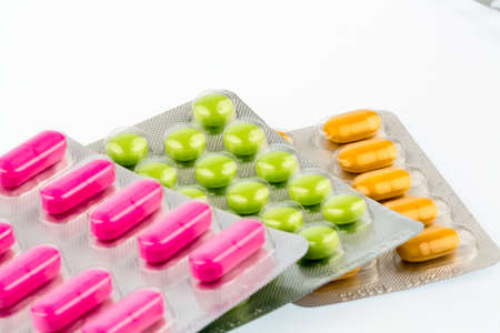 sleeping pills: colorful tablets in blister pack, Stock Photo