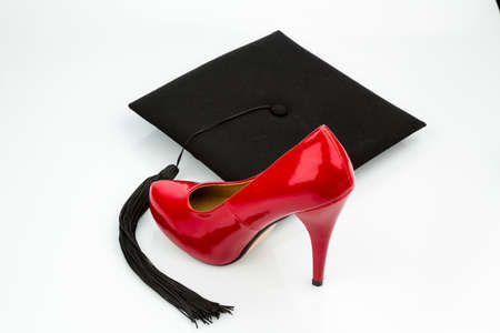 ladys shoe on mortarboard