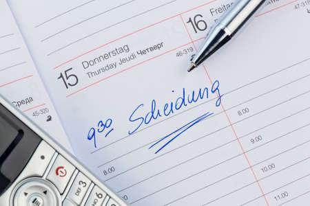 entry in the calendar: divorce Stock Photo