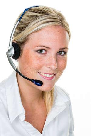 Vrouw met hoofdtelefoon in klantenservice Stockfoto - 90506080
